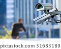 security CCTV camera  with young man background 31683189