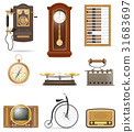set of much objects retro old vintage icons vector 31683697