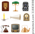 set of much objects retro old vintage icons vector 31683698