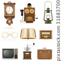 set of much objects retro old vintage icons vector 31683700