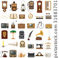 set of much objects retro old vintage icons vector 31683701