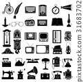 set of much objects retro old vintage icons vector 31683702