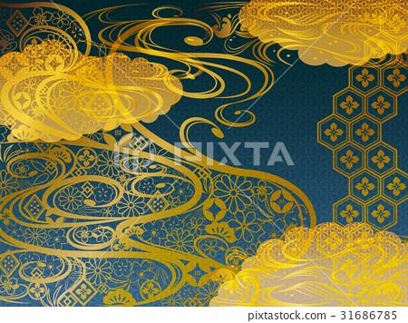 日本模式波背景藍色材料 31686785