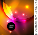 Overlapping circles on glowing abstract background 31687263