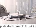 Pair of wine glasses, champagne flutes, Mockup 31687433
