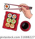 sushi, hand, chopstick 31688227