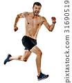 man runner jogger running jogging isolated shadows 31690519