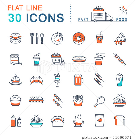 Set Vector Flat Line Icons Fast Food 31690671