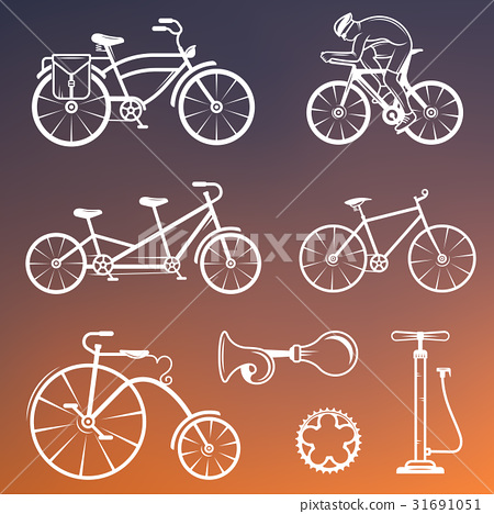 Set Vintage Sign and Silhouette Bicycle 31691051