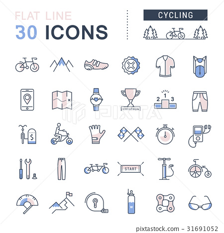 Set Vector Flat Line Icons Cycling 31691052