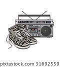Retro style attributes - zebra sneakers, sport 31692559