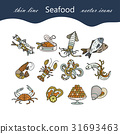 Seafood thin line vector icons set. 31693463