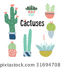 Set of cute hand drawn cactus and succulent plants 31694708