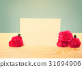 Blank Greeting Card with Carnation Flowers  31694906