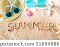 Summer text in the sand 31694986
