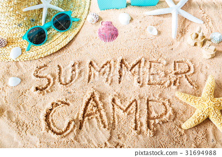 Summer Camp text in the sand 31694988