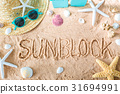 Sunblock text in the sand 31694991