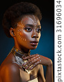 Beautiful afro girl with drawings on skin 31696034