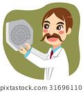 scientist, fossil, cartoon 31696110