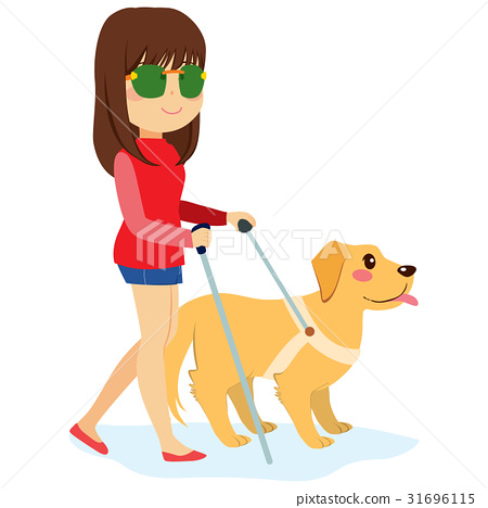 Blind Woman With Dog 31696115