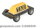 Taxi service concept, phone with wheels 31696949