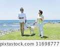 시니어 부부와 강아지 초원과 푸른 하늘 31698777