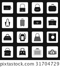 Bag baggage suitcase icons set squares vector 31704729