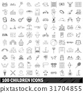 100 children icons set, outline style 31704855