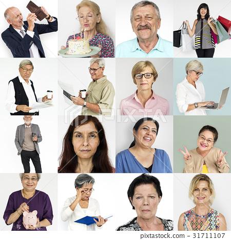 Senior Adult Enjoying Retirement Life Studio Portrait Collage 31711107