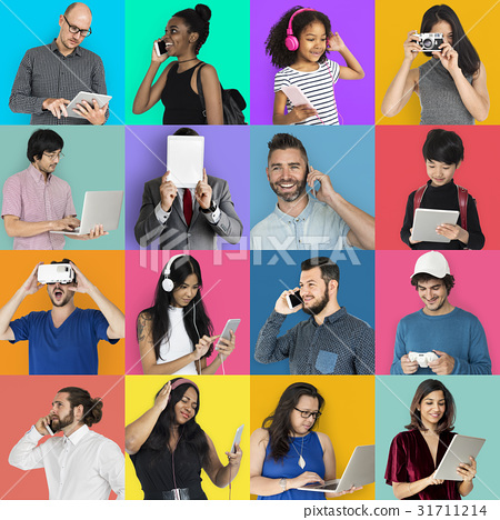 Collection of people using digital device collage colorful 31711214