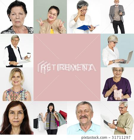 Senior Adult Enjoying Retirement Life Studio Portrait Collage 31711297
