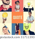 Set of Diverse People Inspiration Quote Word Studio Collage 31711393