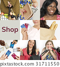 Set of Diverse Women Enjoying Sale Buy Shopping Studio Collage 31711550