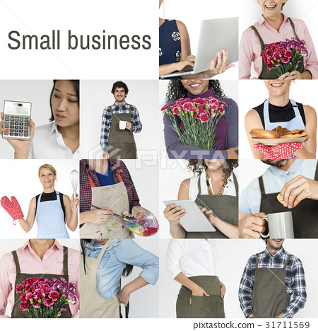 Collage of small business startup people set collection 31711569
