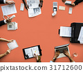 Business People Working Use Laptop Agenda Printer 31712600