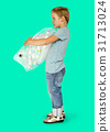 Ecology little boy holding bag of plastic bottle for recycle 31713024