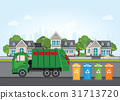 City waste recycling concept with garbage truck. 31713720