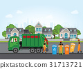 City waste recycling concept with garbage truck  31713721