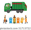 City waste recycling concept with garbage truck 31713722