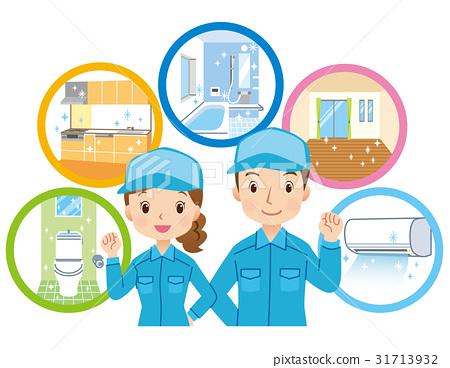 男性和女性工作人员清洁承包商 31713932