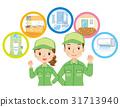 男性和女性工作人员清洁承包商 31713940