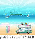 Summer beach camping island landscape with caravan 31714488