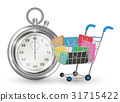 stopwatch with shopping cart on white background 31715422