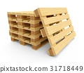 3D rendering wooden pallets isolated on white 31718449