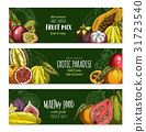 Vector banners of exotic fruits mix for menu 31723540