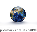 3D Rendering Planet Earth, globe model isolated 31724098