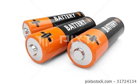 3D Rendering batteries on white background 31724134