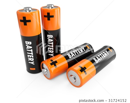3D Rendering batteries on white background 31724152