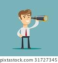 successful businessman with telescope . Business 31727345