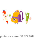 Funny smiling pen, pencil, backpack characters 31727368